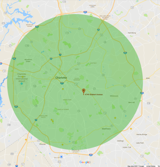 Service area map for the greater Charlotte NC area